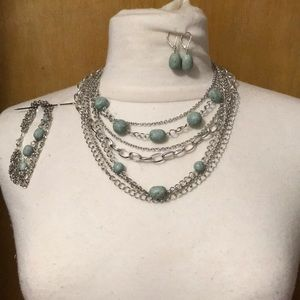 Light turquoise color set of jewelry